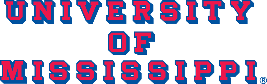 Mississippi Rebels Logo Wordmark Logo (1977-2002) - Block UNIVERSITY OF MISSISSIPPI with drop shadow. Typeface matches those used on football media guides beginning in 1977. SportsLogos.Net