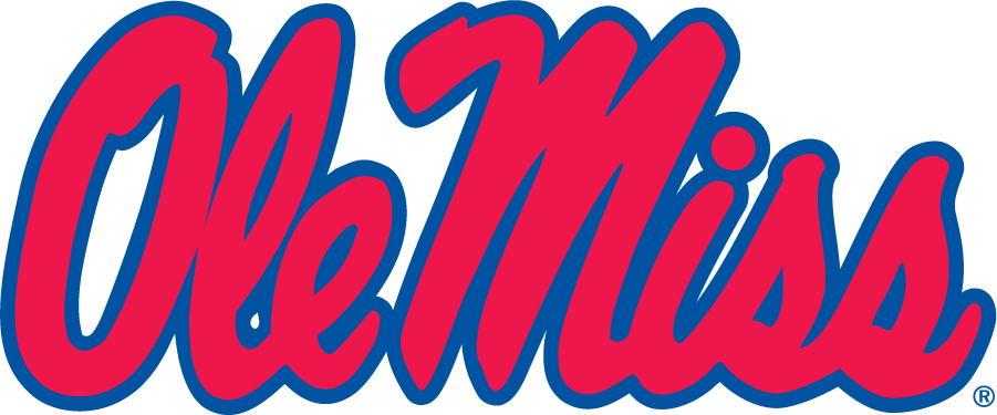 Mississippi Rebels Logo Wordmark Logo (1983-2002) - Horizontal Script Ole Miss. First appeared in publications in 1983 and eventually became the Primary in 2002. During this time this was commonly seen in red and white on a powder blue background. SportsLogos.Net