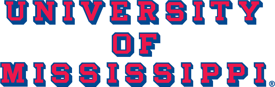 Mississippi Rebels Logo Wordmark Logo (2002-2007) - Block UNIVERSITY OF MISSISSIPPI with drop shadow in new shade of blue. SportsLogos.Net