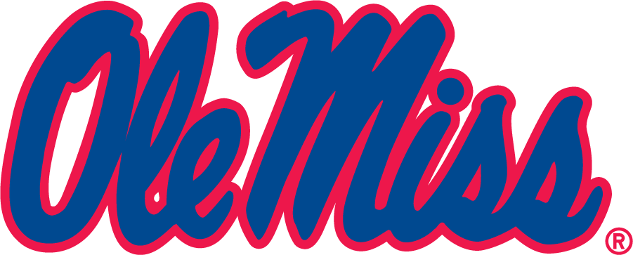 Mississippi Rebels Logo Wordmark Logo (2002-2007) - Horizontal Script Ole Miss wordmark with new blue and inversed colors of the 1983-2002 version. SportsLogos.Net