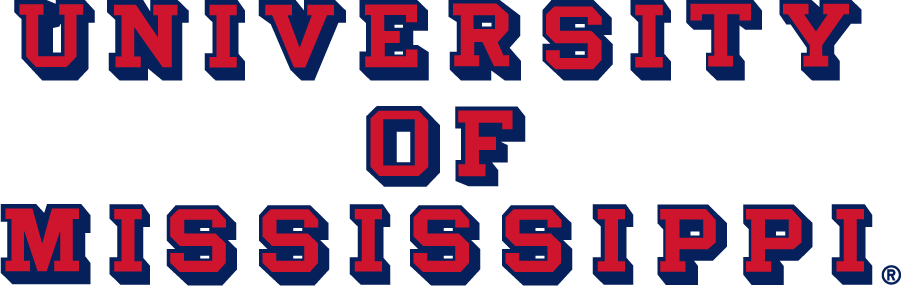 Mississippi Rebels Logo Wordmark Logo (2007-2020) - Block UNIVERSITY OF MISSISSIPPI with drop shadow in new red and blue. SportsLogos.Net