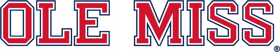 Mississippi Rebels Logo Wordmark Logo (2007-2020) - Block Ole Miss wordmark in new red and blue. SportsLogos.Net
