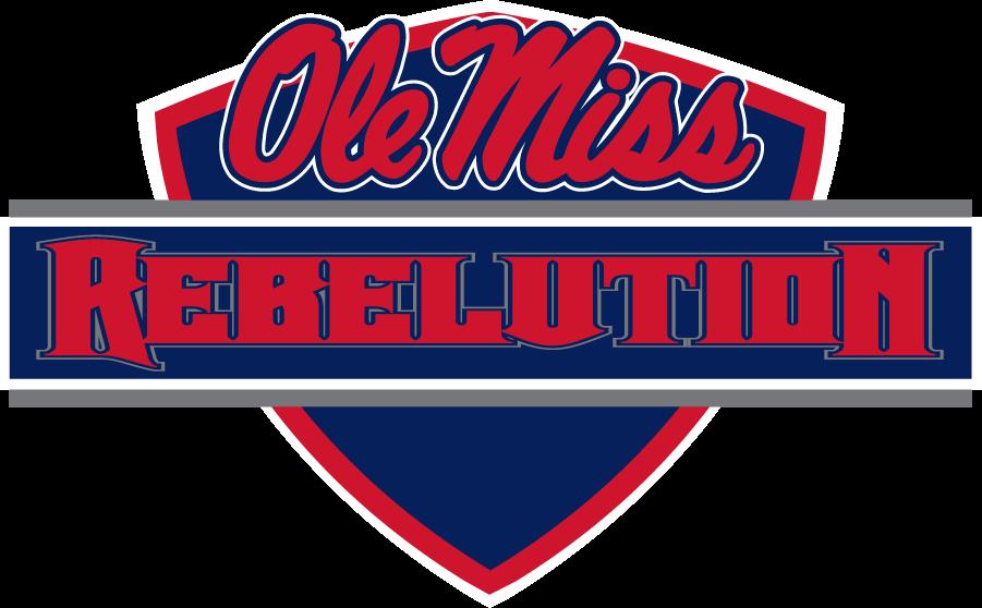 Mississippi Rebels Logo Wordmark Logo (2010-2011) - Script Ole Miss over REBELUTION phrase on bar on shield. Appears to not have been used long. SportsLogos.Net