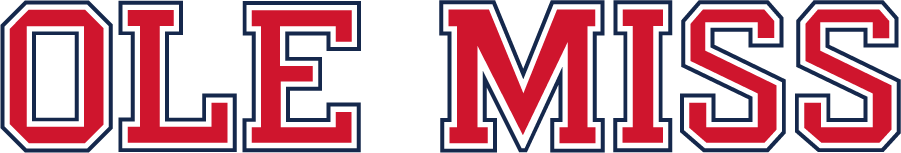 Mississippi Rebels Logo Wordmark Logo (2020-Pres) - Block OLE MISS in red fill, white inline, and blue outline with updated colors. SportsLogos.Net