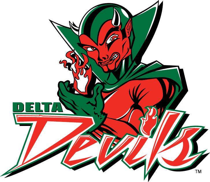 MVSU Delta Devils Logo Primary Logo (2002-Pres) - Green and Red Devil with script SportsLogos.Net