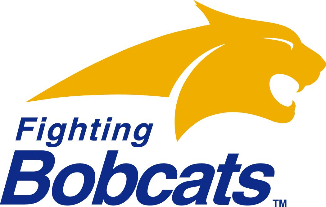 Montana State Bobcats Logo Primary Logo (1997-2003) - A blue bobcat head with script on yellow SportsLogos.Net
