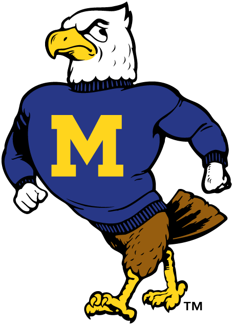 Morehead State Eagles Logo Primary Logo (1986-2004) - Eagle walking with blue shirt with yellow M SportsLogos.Net