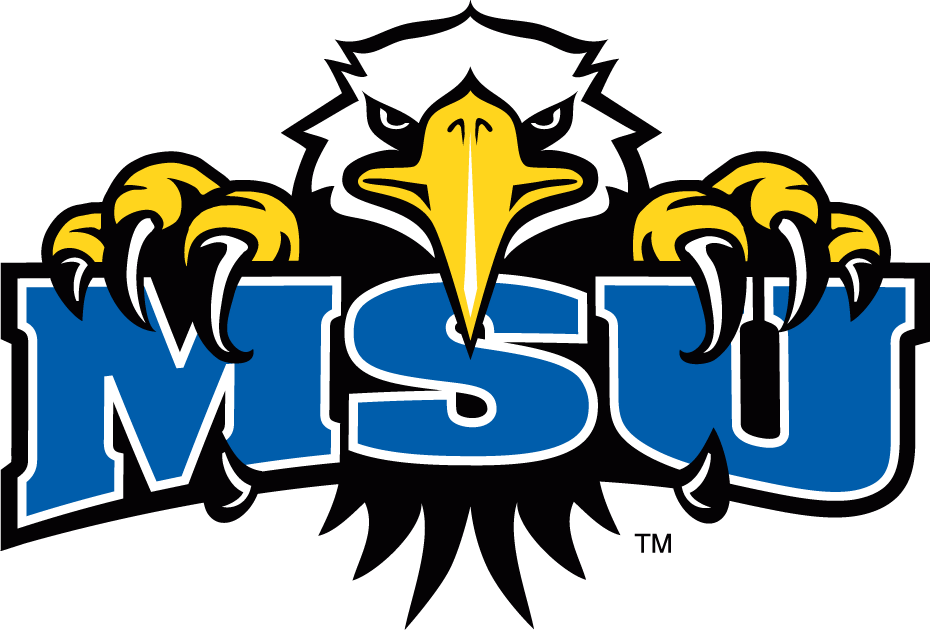 Morehead State Eagles Logo Secondary Logo (2005-Pres) - Eagle holding blue MSU SportsLogos.Net