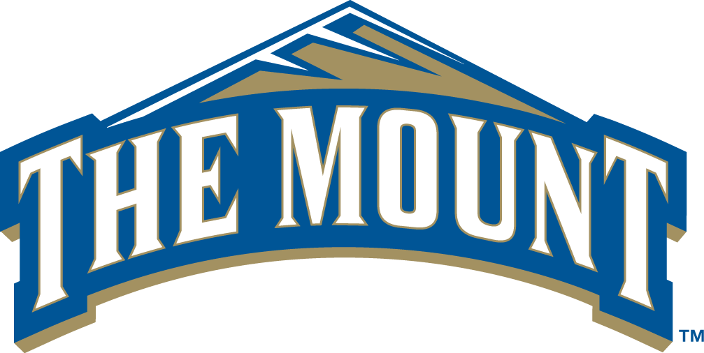 Mount St. Marys Mountaineers Logo Primary Logo (2004-Pres) - Moutain Top with blue banner saying The Mount SportsLogos.Net