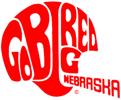 Nebraska Cornhuskers Logo Misc Logo (1969-1986) - Go Big Red spelled out in the shape of a football helmet. SportsLogos.Net