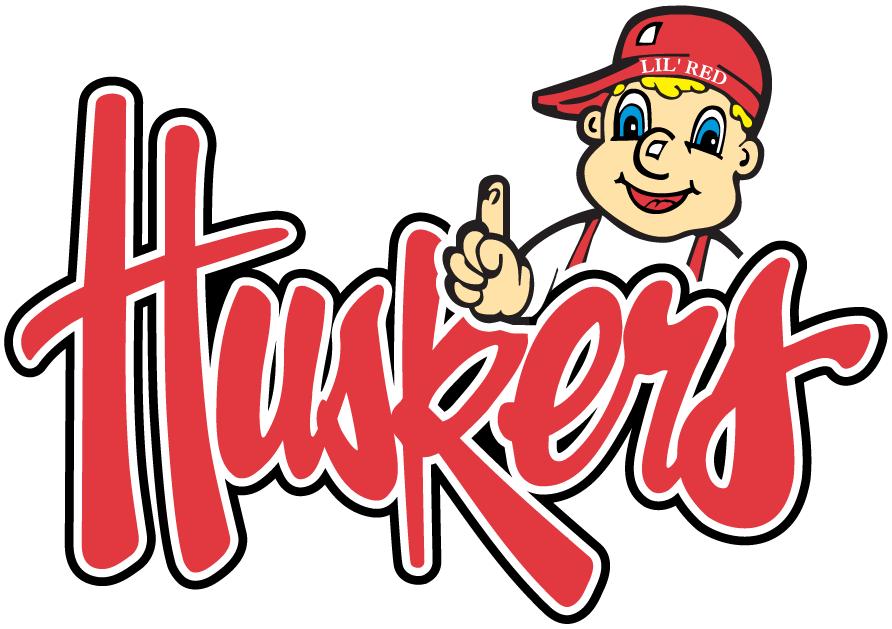 Nebraska Cornhuskers Logo Wordmark Logo (2004-2011) - Huskers wordmark featuring mascot Lil Red  SportsLogos.Net