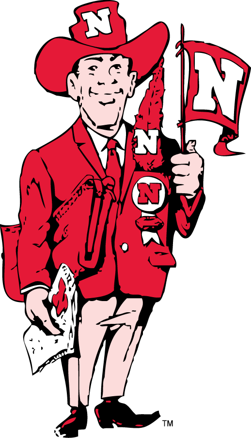 Nebraska Cornhuskers Logo Mascot Logo (1962-1973) - Harry the Husker in red sports coat with pennant with a N SportsLogos.Net
