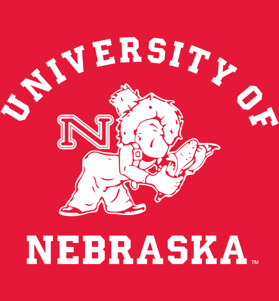 Nebraska Cornhuskers Logo Alternate Logo (1951-1963) - Farmer picking corn with script on red SportsLogos.Net