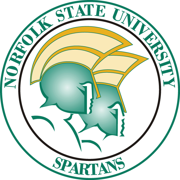 Norfolk State Spartans Logo Primary Logo (2005-Pres) - Two Spartan head with green helmets in a circle SportsLogos.Net