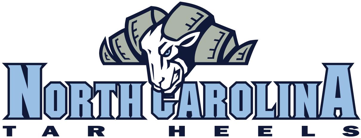 North Carolina Tar Heels Logo Wordmark Logo (1999-2004) - Ram's head over North Carolina in carolina blue SportsLogos.Net