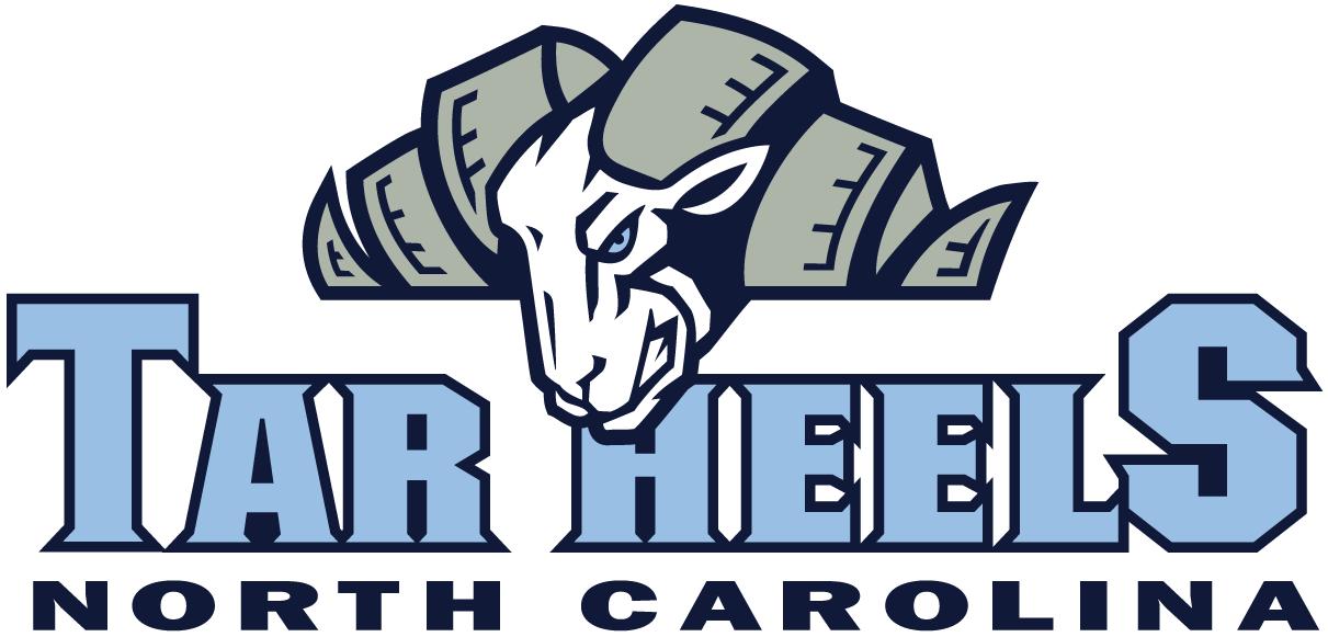 North Carolina Tar Heels Logo Wordmark Logo (1999-2004) - Ram's head over Tar Heels in carolina blue SportsLogos.Net