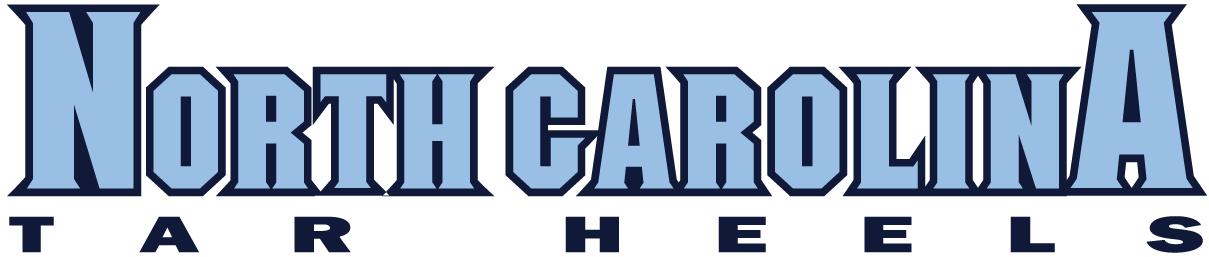 North Carolina Tar Heels Logo Wordmark Logo (1999-2004) - North Carolina in carolina blue over Tar Heels SportsLogos.Net
