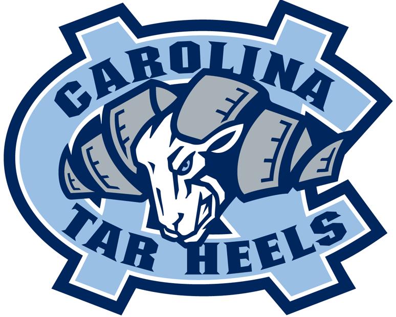 North Carolina Tar Heels Logo Alternate Logo (2005-2014) - Rams head in the middle of interlocking Carolina blue UNC. SportsLogos.Net