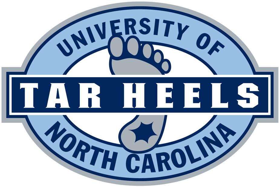 North Carolina Tar Heels Logo Alternate Logo (1999-2014) - Grey foot with tar on the heel in a blue oval with script SportsLogos.Net