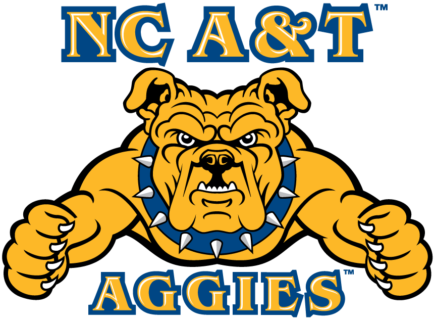 North Carolina A&T Aggies Logo Primary Logo (2006-Pres) - Yellow Dog with arms out and script SportsLogos.Net