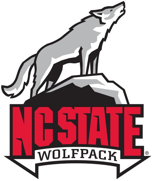 North Carolina State Wolfpack Logo Alternate Logo (2006-Pres) - Lone wolf howling on rock above NC State wordmark. SportsLogos.Net