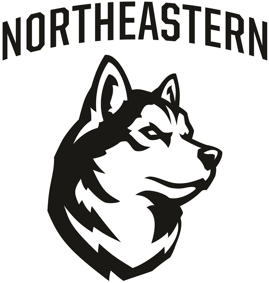 Northeastern Huskies Logo Primary Logo (2018-Pres) - A black and white husky with NORTHEASTERN arched above in black SportsLogos.Net