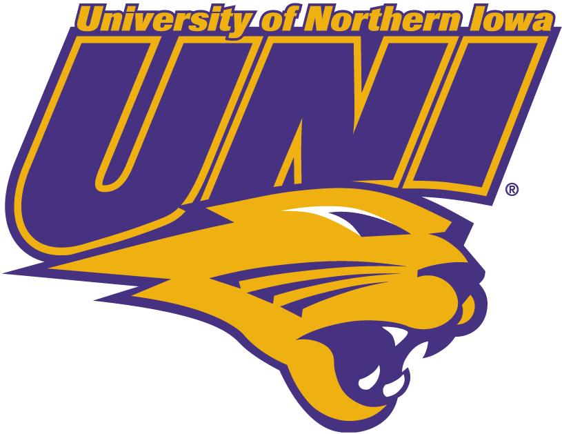 Northern Iowa Panthers Logo Alternate Logo (2002-2014) - UNI in puple over purple Panther's head SportsLogos.Net
