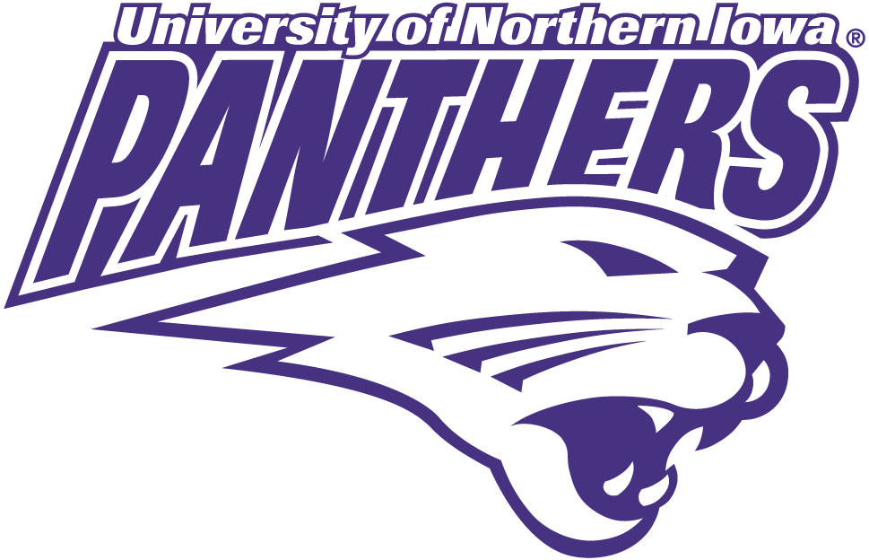 Northern Iowa Panthers Logo Secondary Logo (2002-2014) - Panthers in purple over yellow Panther's head SportsLogos.Net