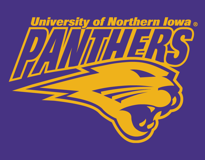 Northern Iowa Panthers Logo Secondary Logo (2002-2014) - Panthers in puple over purple Panther's head SportsLogos.Net