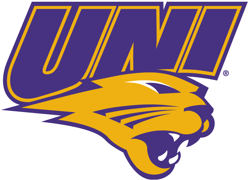 Northern Iowa Panthers Logo Primary Logo (2002-2014) - UNI in purple over yellow Panther's head SportsLogos.Net