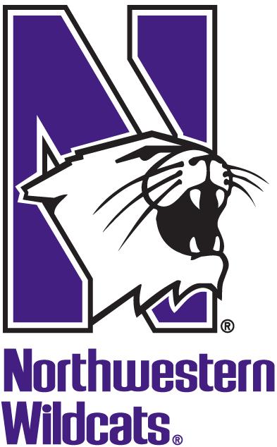 Northwestern Wildcats Logo Alternate Logo (1981-Pres) - Wildcat's head coming out of purple N over script SportsLogos.Net