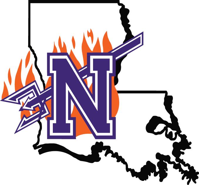 Northwestern State Demons Logo Primary Logo (2000-2007) - Flaming purple N with pitchfork on Louisiana SportsLogos.Net