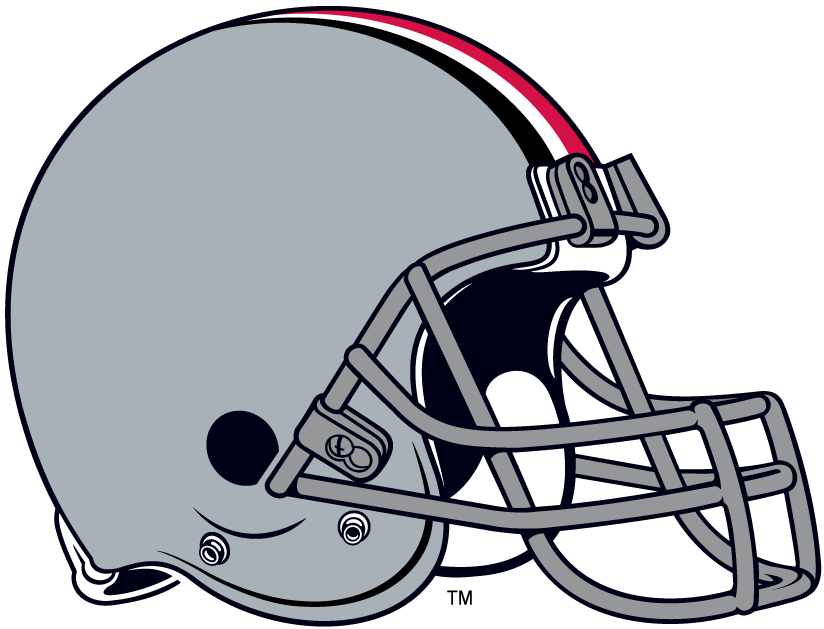 Ohio State Buckeyes Helmet Helmet (1968-Pres) - Silver helmet with red and black stripes SportsLogos.Net