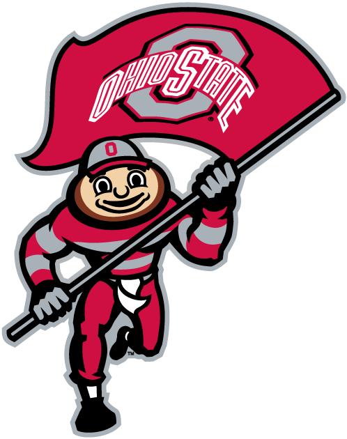 Ohio State Buckeyes Logo Mascot Logo (2003-2012) - Brutus, buckeye, running with Ohio State flag. SportsLogos.Net