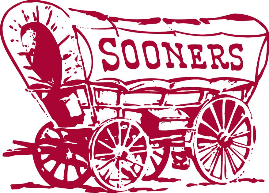 Oklahoma Sooners Logo Primary Logo (1952-1966) - Sooner Scooner - maroon covered wagon with Sooners written on canopy in maroon. SportsLogos.Net