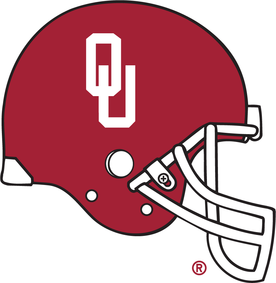 Oklahoma Sooners Helmet Helmet (1977-2008) - 2D, sideview of helmet with crimson shell, white narrow-OU logo, and white facemask. Previous helmet had a gray facemask. SportsLogos.Net