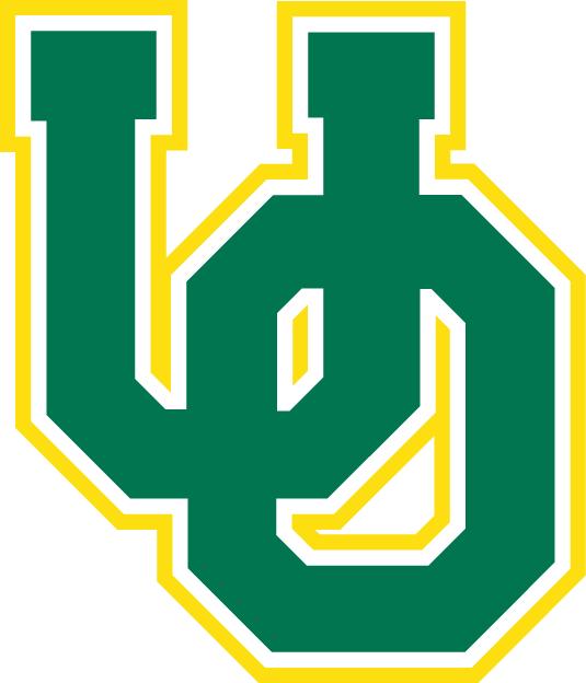 Oregon Ducks Logo Primary Logo (1994-1998) - Green interlocking OU with yellow outline SportsLogos.Net