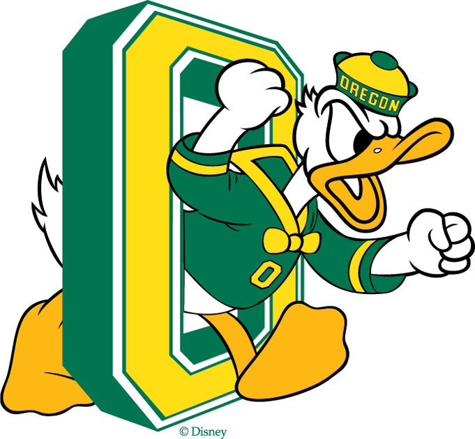 Oregon Ducks Logo Primary Logo (1974-1993) - Donald Duck pumping his fists inside a large, eight-sided letter 'O' SportsLogos.Net