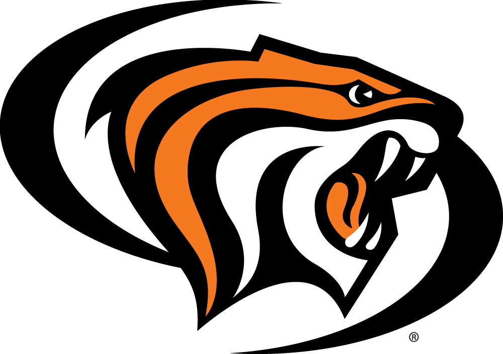 Pacific Tigers Logo Alternate Logo (1998-Pres) - Orange, black, and white tiger head surrounded by black swooshes  SportsLogos.Net