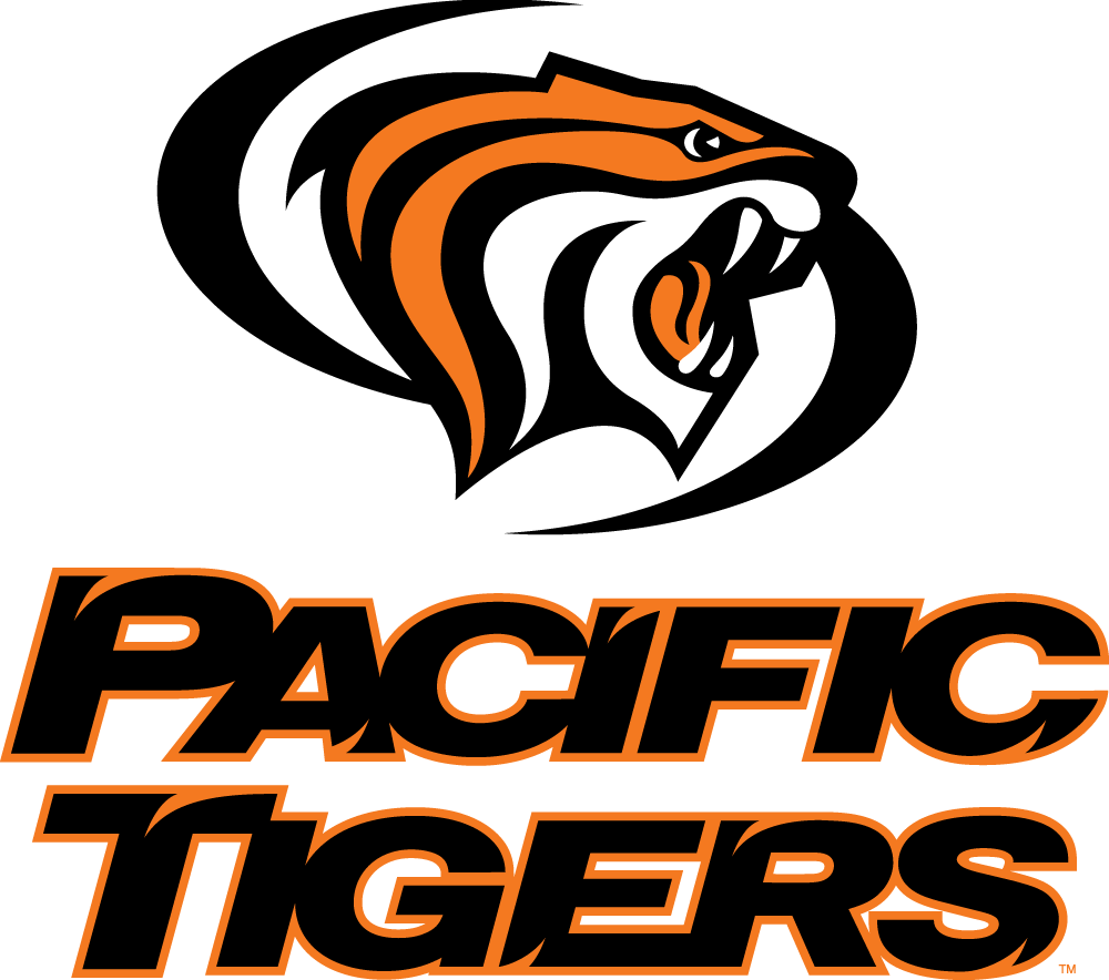 Pacific Tigers Logo Primary Logo (1998-Pres) - Orange, black, and white tiger head surrounded by black swooshes above team name in black and orange  SportsLogos.Net