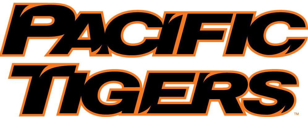 Pacific Tigers Logo Wordmark Logo (1998-Pres) - Pacific Tigers in black and orange italics SportsLogos.Net