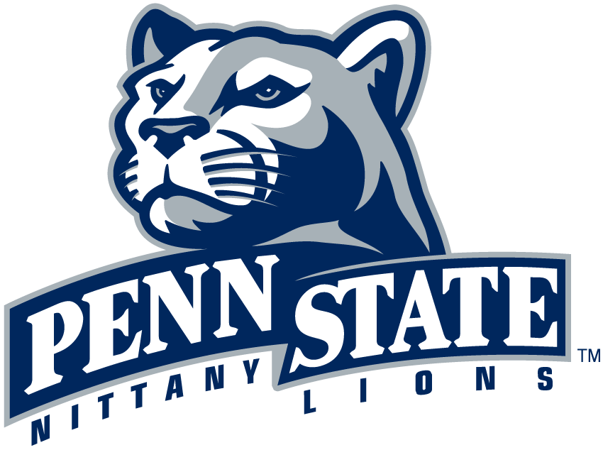 Penn State Nittany Lions Logo Primary Logo (2001-2004) - Lions head over banner with script SportsLogos.Net