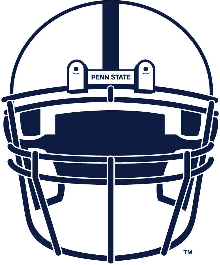 Penn State Nittany Lions Helmet Helmet (2008-Pres) - Front-facing white helmet with navy facemask and center stripe. SportsLogos.Net