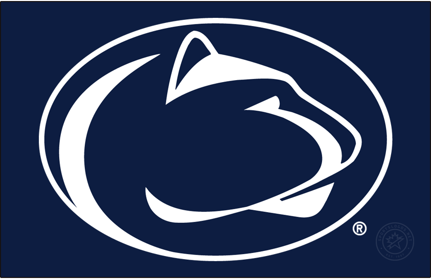 Penn State Nittany Lions Logo Primary Dark Logo (1996-Pres) - Mountain lion head in navy oval. On a white background no outline is needed. However on a busy or non-white background, a white outline is need with the logo. SportsLogos.Net