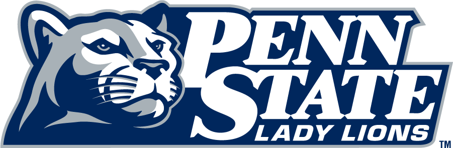Penn State Nittany Lions Logo Secondary Logo (1996-2008) - Mountain lion head beside stacked PENN STATE above LADY LIONS in navy and gray. SportsLogos.Net