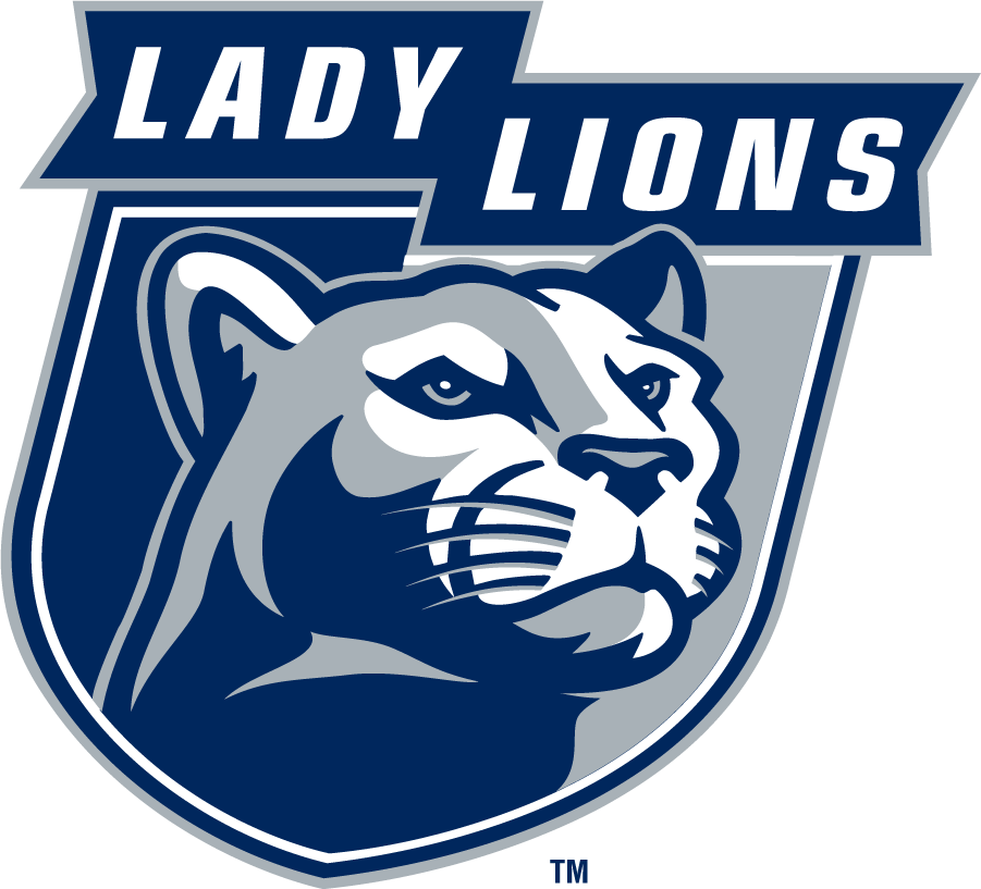 Penn State Nittany Lions Logo Secondary Logo (1996-2008) - LADY LIONS in ribbon over right-facing mountain lion head on shield in navy and gray. SportsLogos.Net