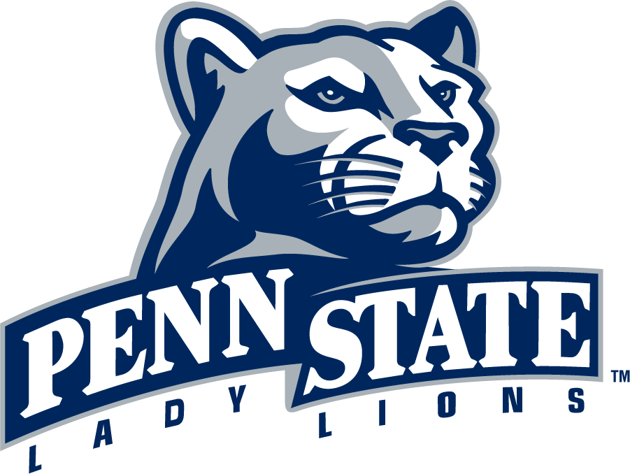 Penn State Nittany Lions Logo Secondary Logo (1996-2008) - Right-facing mountain lion head above PENN STATE in ribbon above LADY LIONS. SportsLogos.Net