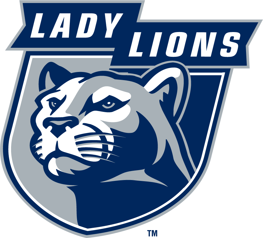 Penn State Nittany Lions Logo Secondary Logo (1996-2008) - LADY LIONS in ribbon over left-facing mountain lion head on shield in navy and gray. SportsLogos.Net