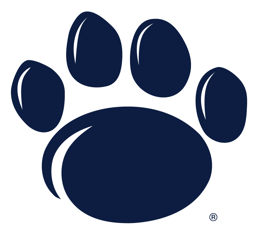 Penn State Nittany Lions Logo Secondary Logo (2005-Pres) - Paw logo in navy. On a white background the white outline is not needed. SportsLogos.Net