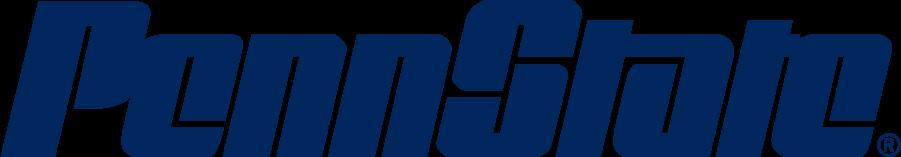 Penn State Nittany Lions Logo Wordmark Logo (1983-2011) - Stylized PENN STATE in navy. SportsLogos.Net